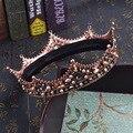 Barroco Do Vintage Preto Rhinestone Beads Big Coroa Do Cabelo Do Casamento Acessórios de Cristal de Luxo Rainha Rei Coroas Nupciais Tiaras Coroas