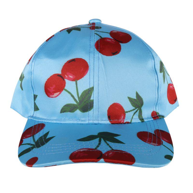 2017 Adjustable Hip-Hop Runing Cap Cotton Cherry Print Hats Hiking Caps Men Women