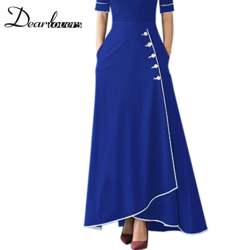 Dear lovers High Waist Long Skirts for Women Autumn Winter Plus Size A Line Maxi Office Ladies Skirt with Pockets LC65079