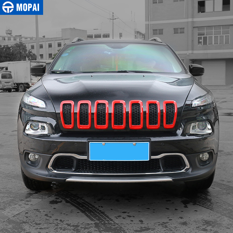 Image 4 - MOPAI Car Exterior Accessories ABS 3D Front Insert Grill Cover Decoration Frame Stickers For Jeep Cherokee 2014 Up Car Styling-in Chromium Styling from Automobiles & Motorcycles