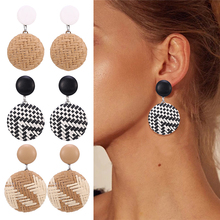 HOCOLE Vintage Rattan Weave Braided Drop Earring For Women Round Square Hollow Female 2019 dangle drop fashion handmade