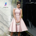 Elegant Pink Prom Dresses with Beeded Sashes Satin Tea Length Evening Gown Formal Women Party Dress