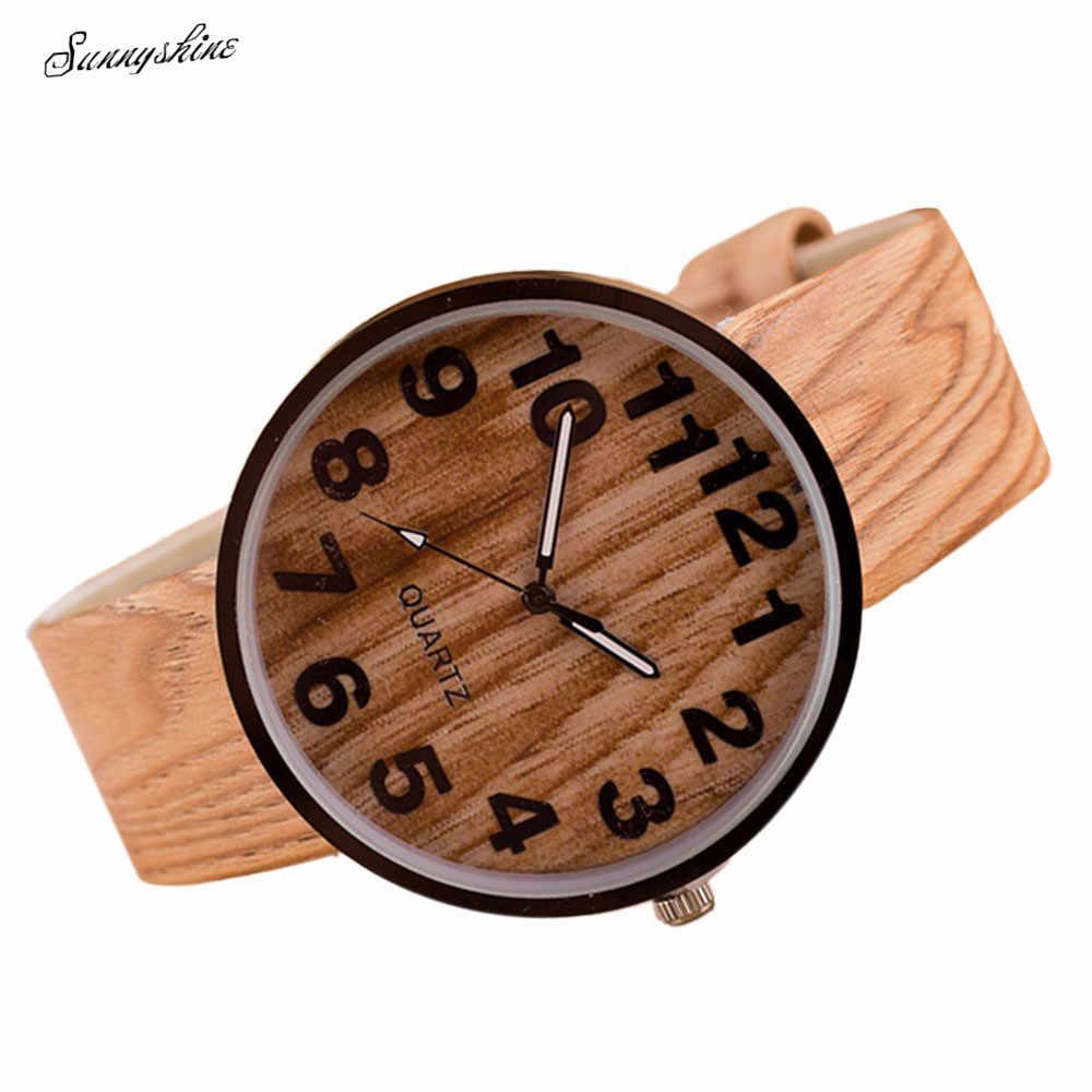 De madera de estilo nuevo de cuero de grano de cuarzo impermeable relojes mujer vestido relojes hombres reloj venta al por mayor F3
