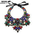 MANILAI Women Luxury Crystal Collar Necklace Handmade Gems Bead Flower Choker Maxi Necklaces Statement Jewelry Bijoux femme