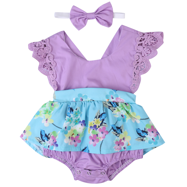 cd39ae0bfc1d 2017 Summer Newborn Baby Girls Pruple Clothes Backless Lace Romper Skirted  Jumpsuit +Headband 2PCS Outfit