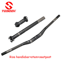 Full Carbon Fiber Bicycle Handlebar Set 3k Flat Riser Handlebar Stem Seatpost Mtb Road Mountain Bike