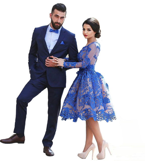 867f1dd82c13a Delicate Royal Blue Short Prom Dresses 2017 Lace Appliques Long Sleeves Tea  Length Short Formal Party Dress-in Prom Dresses from Weddings & Events