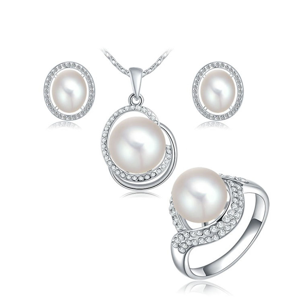 Bridal Jewelry Sets Women's Faux Pearl With Rhinestone Necklace Stud  Earring And Rings White Gold Plating