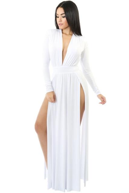 390b86dea New Spring Women Sexy Celebrity Apricot Dress Club Long Sleeve Double High  Slit Slim Maxi Party