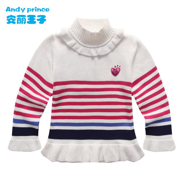Spring and Autumn  Girl Turtleneck Knitted Sweater Girls Pullover Kids Winter Shirts Sweet Flower Sleeve Lantern Sleeve Pullover