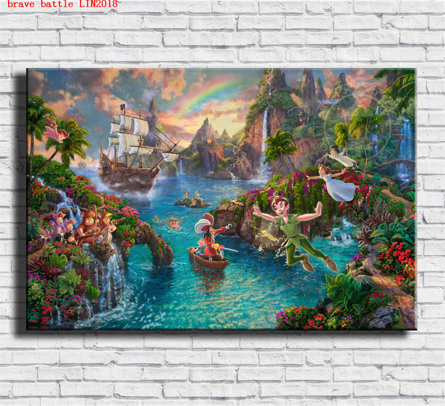 Thomas kinkade peter pan puzzle canvas painting print - Home interiors thomas kinkade prints ...