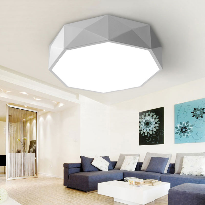 Ceiling Lights Lights & Lighting Personality Polygon Geometric Led Ceiling Light 24w Dimming Bedroom Living Room Foyer Room Ceiling Lamp