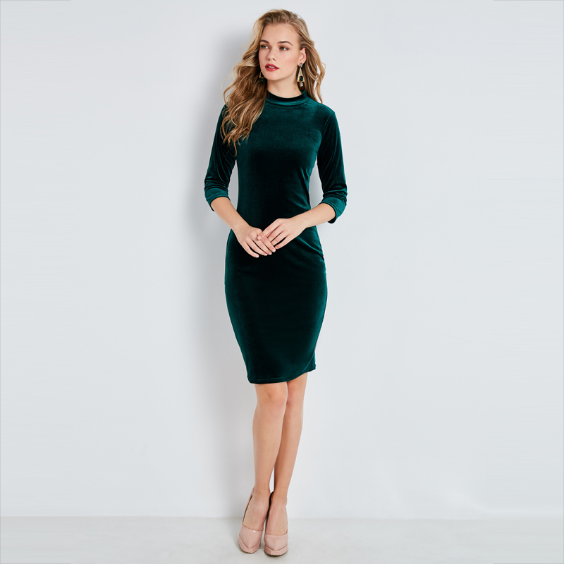 Young17 Autumn Dress Women 2018 Work Hunter Long Sleeve Bodycon Round Neck Knitted Knee-Length Sexy Dress Women Bodycon Dress plain asymmetric v neck ruffled work bodycon dress