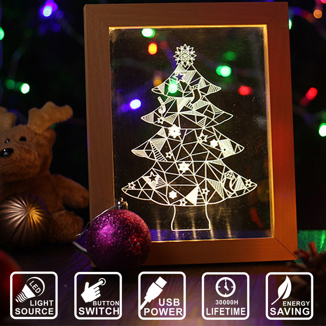 Creative Wood Frame Christmas Tree 3D Visual Table Lamp Acrylic LED Nightlight Home Decor
