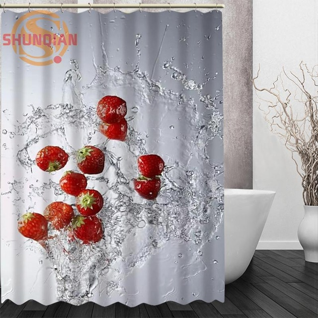 Water And Fruit Shower Curtain Eco Friendly Modern Fabric Polyester Custom Home Decor Curtains