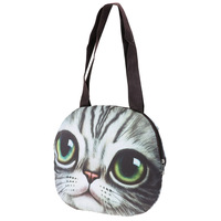 2017 Fashion Retro Cartoon 3D Printing Animal Shoulder Bags Cat Face Pouch Women Handbag For Girls