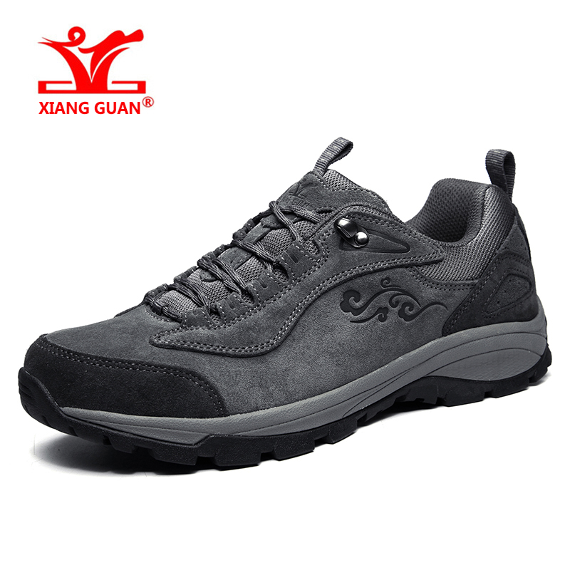 XIANGGUAN outdoor sports shoes for men athletic light leather waterproof breathable hiking shoes women climbing sneakers