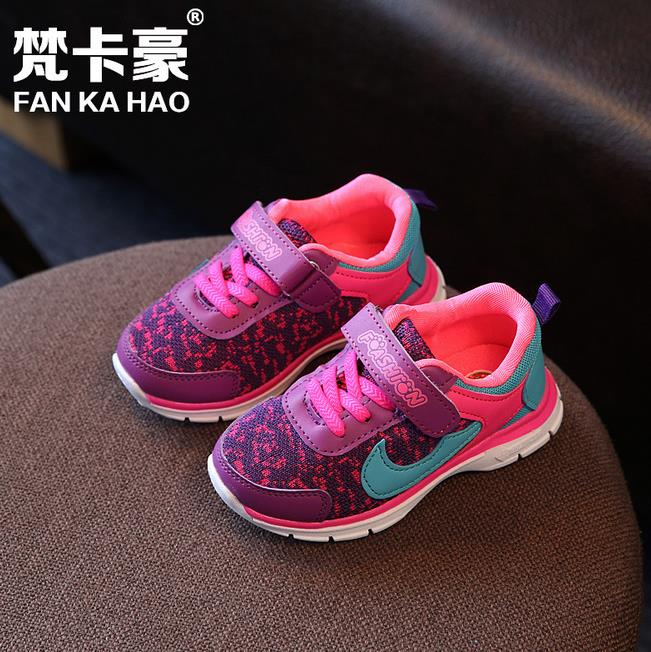 New 2016 Spring and Autumn Kids Sneakers Boys Girls Sports Gauze Breathable Light Running Shoes