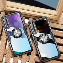 Luxury Clear Phone Case For Huawei P20 Pro Car Magnetic Shockproof Ring Holder Transparent Armor Cover lite