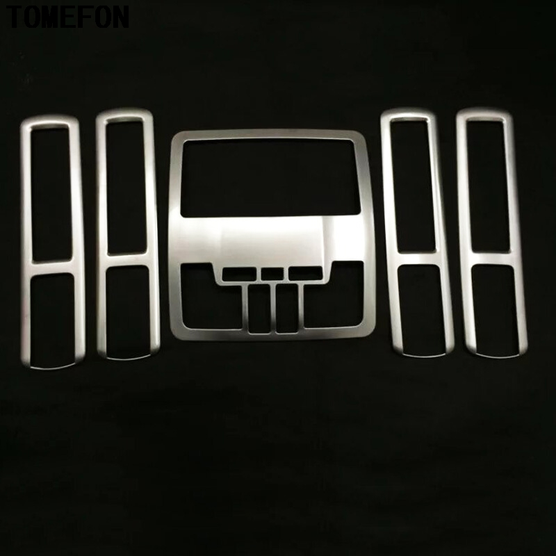 TOMEFON 5Pcs For Toyota Highlander Kluger XU50 2014 2015 ABS Chrome Front Rear Reading Light Lamp Cover Trim Inner Molding