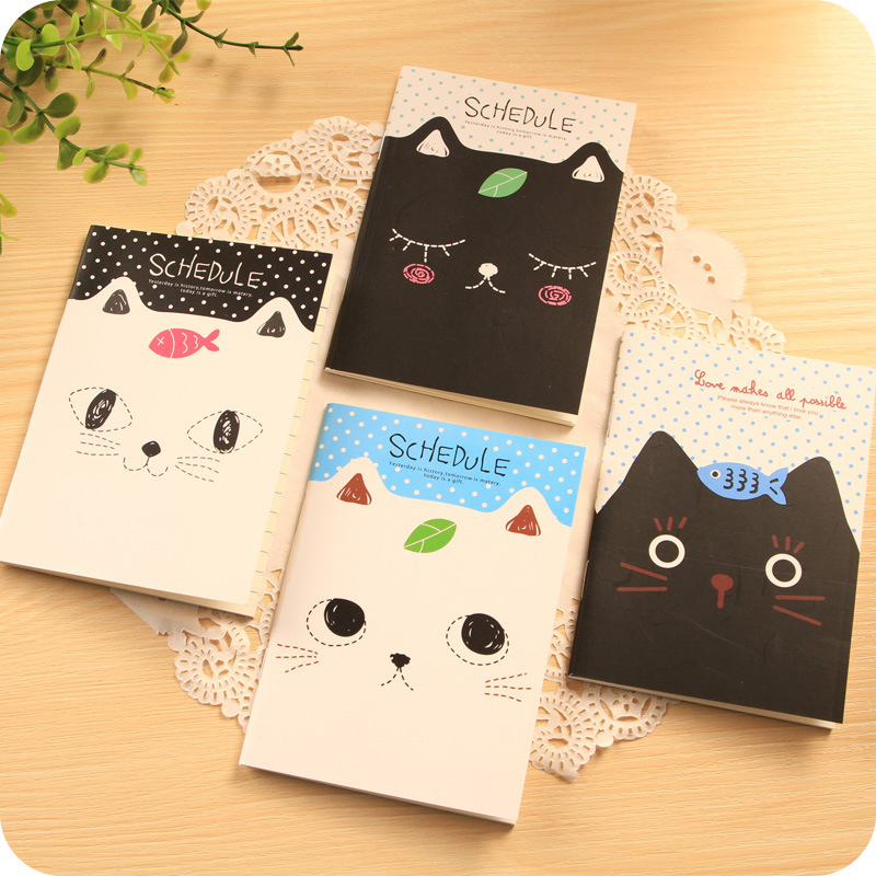 2PCS Office Stationery Cute Cat Notebook Students Diary Filofax Notepad School Supplies Gift Sent At Random
