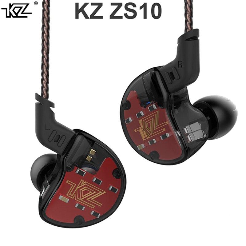 KZ ZS10 Casque 10 Pilote Dans L'écouteur 4BA + 1DD Dynamique Armature Écouteurs HiFi casque extra bass Antibruit Oreille Moniteurs hybride