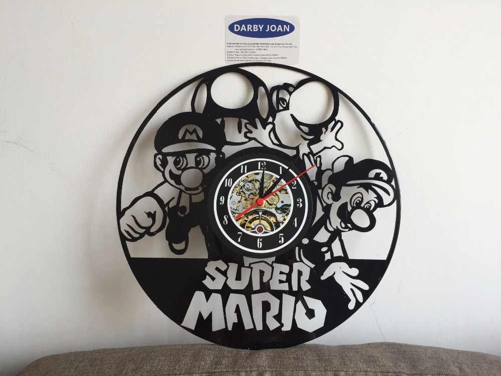 Super Mario Bros Lego Luigi Nintendo vinyl record orologio da parete Regalo Unico duvar saati