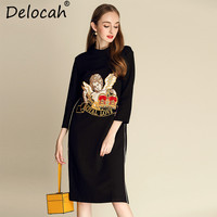 Delocah 2018 New Women Autumn Dress Runway Fashion Design Angel Embroidery Loose Black Dress vestidos