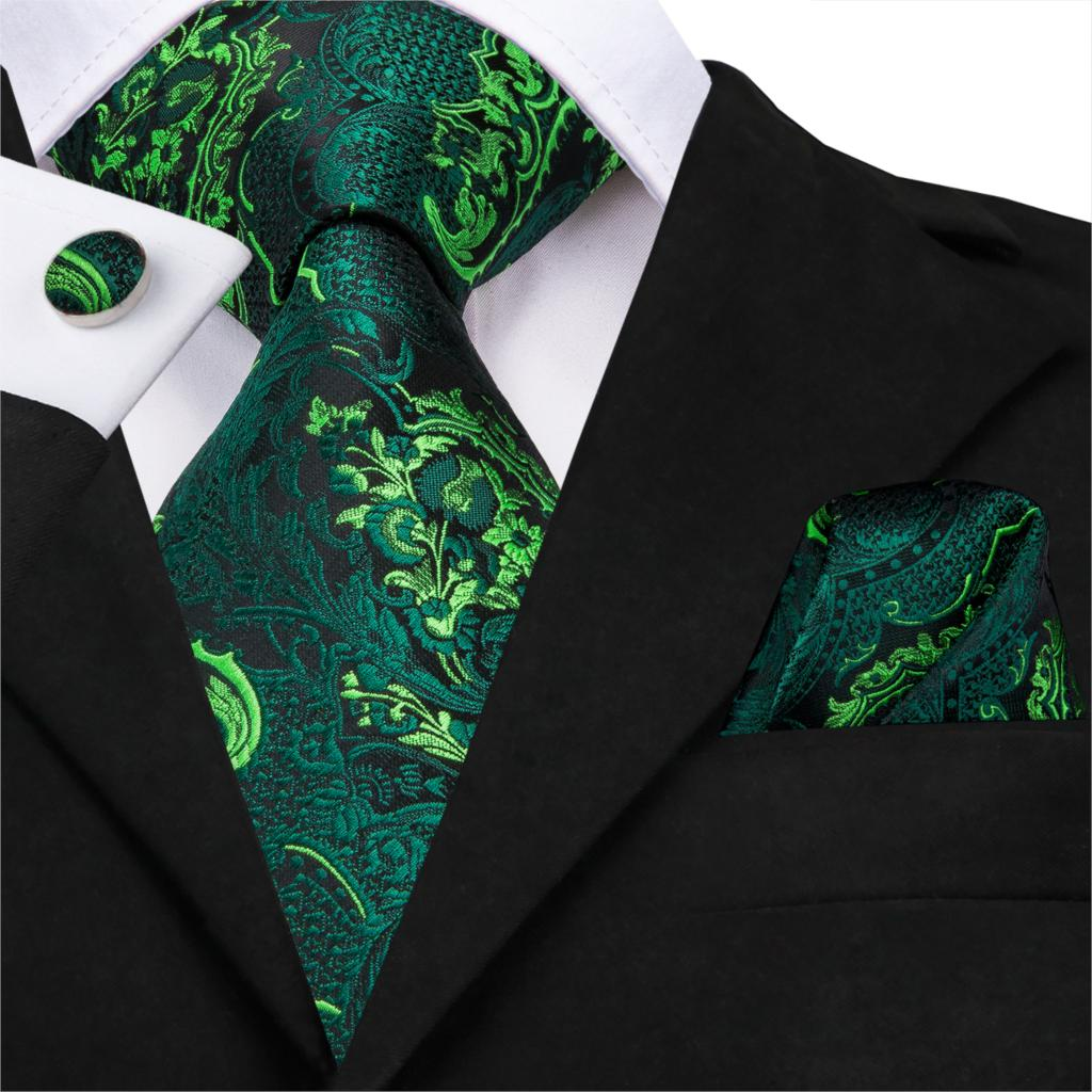 Men Green Ties Floral Tie Paisley Silk Necktie Pocket Square Set For Party Business Emerald Ties Gift Wholesale Hi-Tie SN-3206