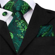 Men Green Ties Floral Tie Paisley Silk Necktie Pocket Square Set for Party Business Emerald Gift Wholesale Hi-Tie SN-3206