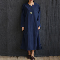 Solid White Navy Blue Long Sleeve V Neck Women Long Dress Cotton Linen Loose Casual Spring