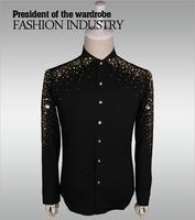 2019, новая мода повседневные мужские рубашки Бизнес Slim Fit черный и белый набор шнека социальной рубашка мужской для певицы для сцены для мужч
