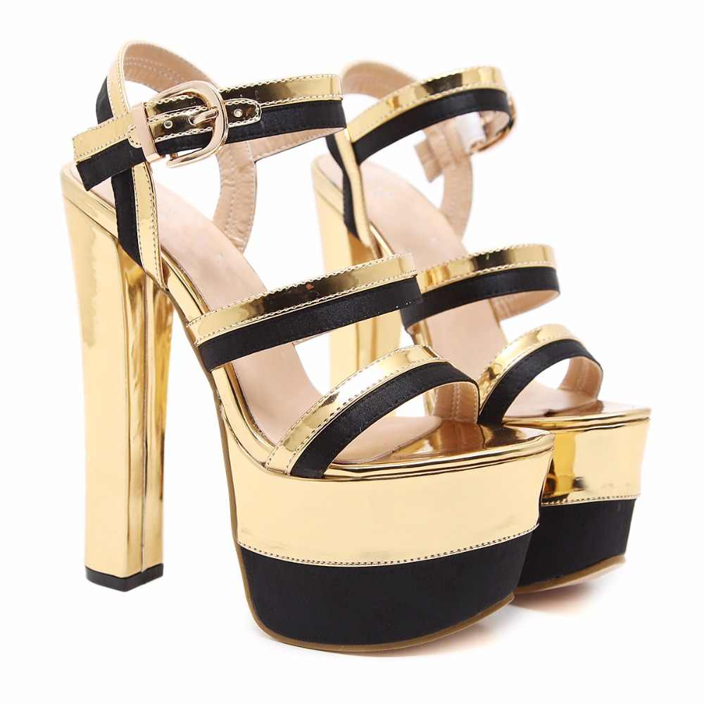 アーデン Furtado 2018 夏セクシーなハイヒール 15 センチメートルファッション靴の女性バックルストラッププラットフォームナイトクラブの靴ゴールドサンダル