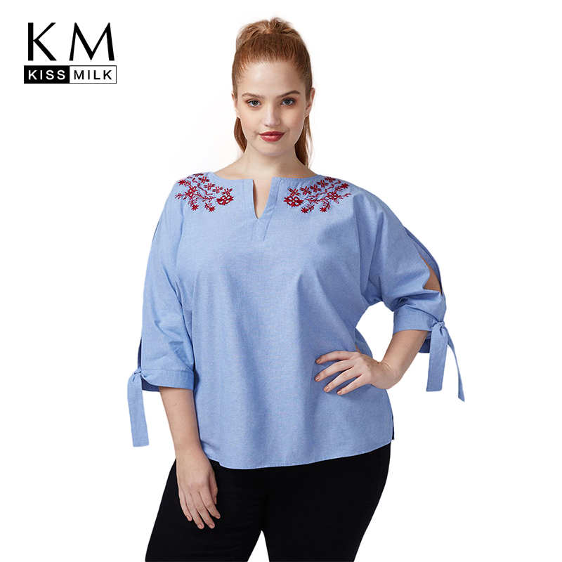 bdd2ffd3f1fd6 Detail Feedback Questions about Kissmilk Plus Size Floral Embroidery V Neck  Cut Out 2018 New Women Summer Shirt Loose Three Quarter Sleeve With Knot  Blouse ...