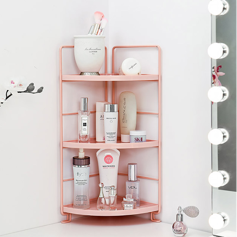 Image 4 - 3 Tiers Storage Shelf Bathroom Organizer Kitchen Rack Stand Holder Iron Bookshelf Desktop Plastic Storage Rack Corner Shelves-in Storage Holders & Racks from Home & Garden