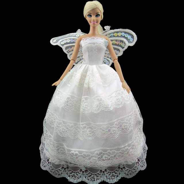 Free shipping Fairy White Costume Princess Dress Big Butterfly Clothes For Barbie Doll Accessories Party Best  sc 1 st  AliExpress.com & Free shipping Fairy White Costume Princess Dress Big Butterfly ...