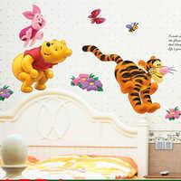 Winnie the Pooh oso Tigre pegatinas de pared para habitaciones de niños adesivo de parede dibujos animados guardería pared calcomanía habitación Decoración
