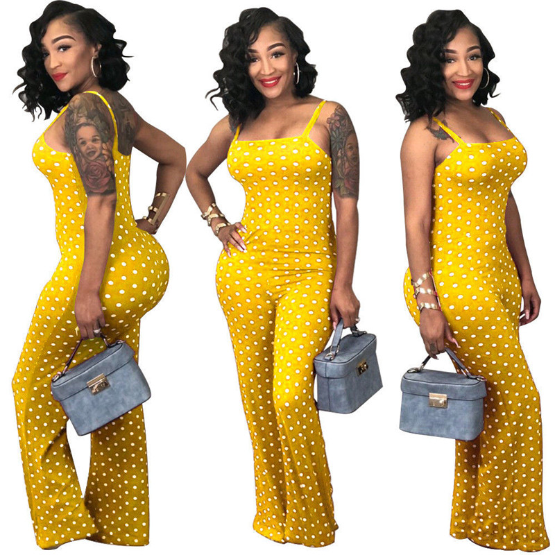 Plus Size Polka Dot Sleeveless Women   Jumpsuit   Bandeau Strapless Sexy Long Womens   Jumpsuit   Rompers Outwear S M L XL XXL 3XL
