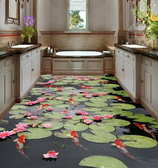 [Self-Adhesive] 3D Lotus Fish Pond 27 Non-slip Waterproof Photo Self-Adhesive Floor Mural Sticker WallPaper Murals Wall Print