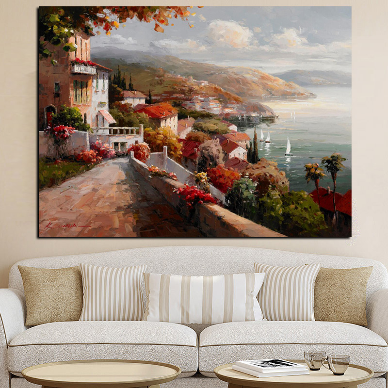 Print Abstract Pastoral Poster Boat Architectural Landscape Oil Painting on Canvas Modern Art Wall Picture for Living Room Decor