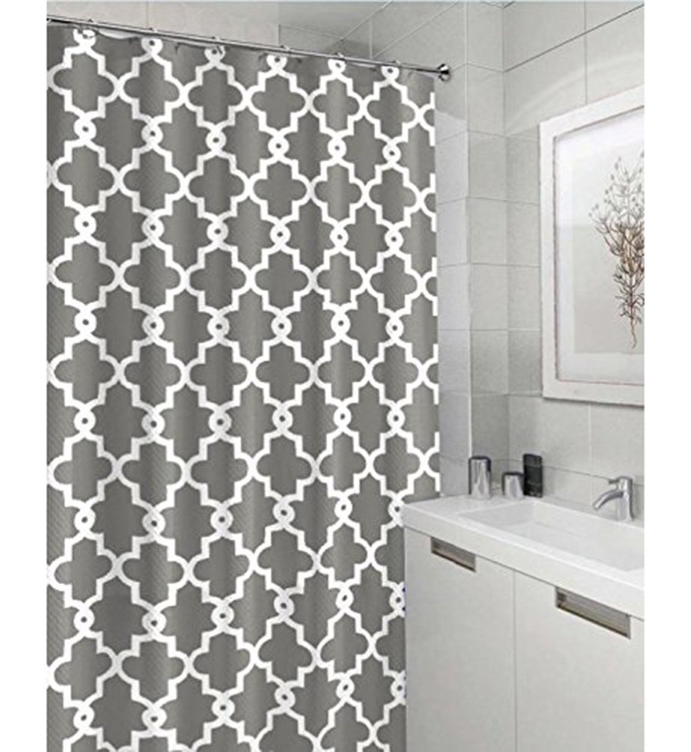 Geometric Patterned Waterproof 100 Polyester Fabric Shower Curtain For Bathroom 72 X 84 Extra Long GREY
