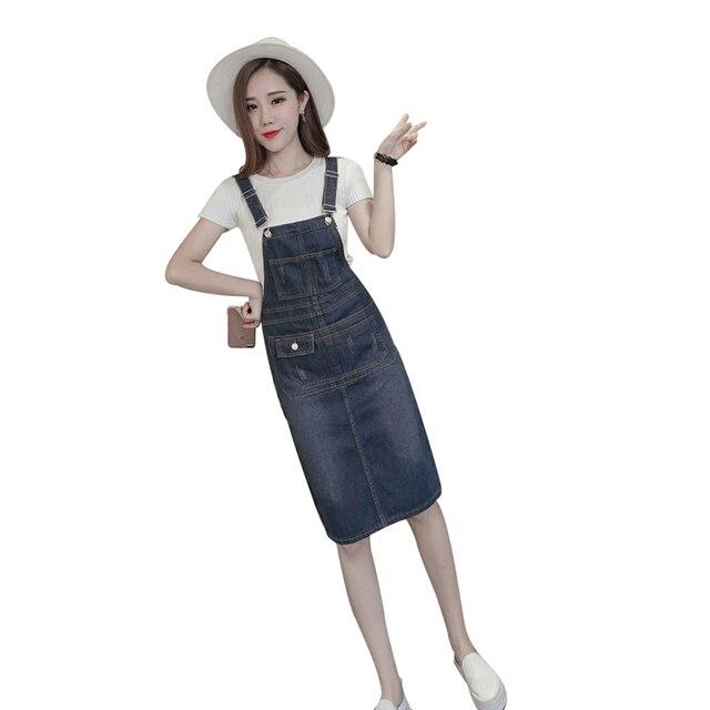 S 5xl Plus Size Denim Dress 2018 Summer Style Loose Strap Jeans