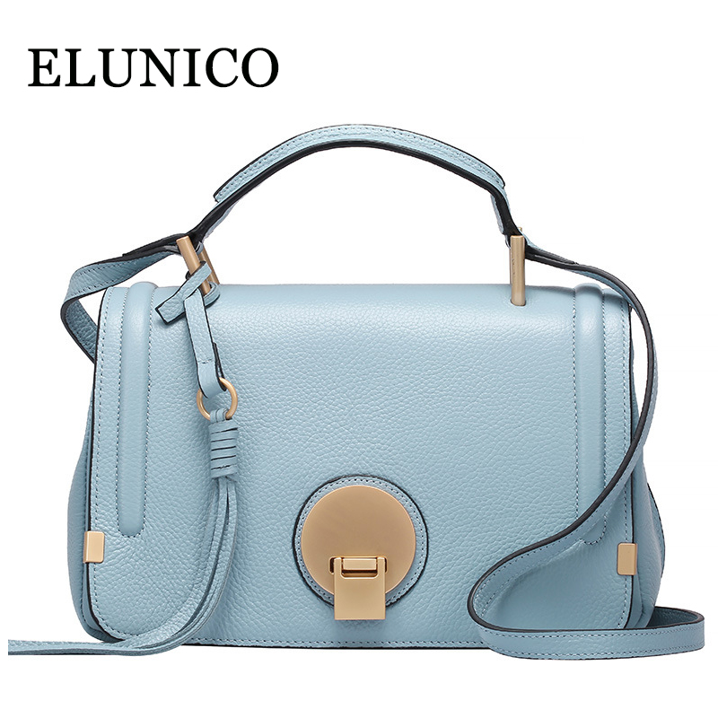 ELUNICO New Genuine Leather Women Handbags 2018 Summer Fashion Female Messenger Shoulder Bag Ladies Tote Bags Bolsas Sac A Main elunico 2018 new large capacity cowhide tote bags handbags women famous brands genuine leather messenger shoulder bag sac a main