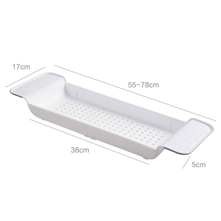 Bathtub Storage Rack Bath Tray Shelf Bathroom Tools Makeup Organizer Shower Tub Plastic Kitchen Sink Drain Holder6