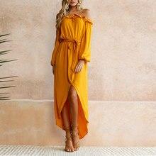 JIMMYHANK  Fashion Women Long Sleeve Slash Neck Shoulder Off Party Dress High Split Bandage Maxi