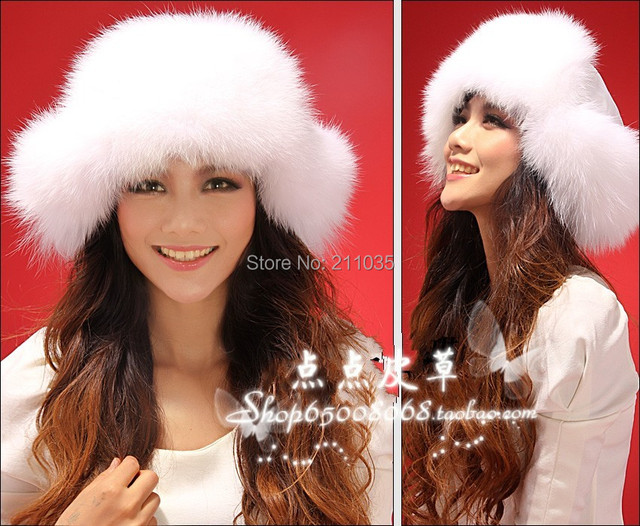 Female winter plus size  full leather bombers fur fox caps fox ear protector fox fur hats