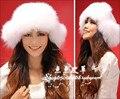 Mujer de invierno más tamaño tapas de bombarderos de cuero completo de piel de fox fox oído protector fox fur hats