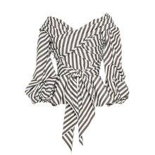 Young17 Летняя блузка 2017 полосой v-образным вырезом Кружево-Up Для женщин тонкий Фонари рукавами Повседневная одежда летние Топы корректирующие Для женщин Топ