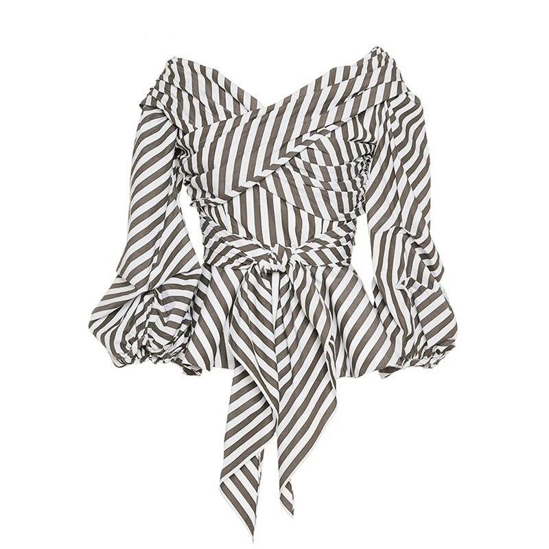 Young17 Summer font b Blouse b font 2017 Stripe V Neck Lace Up Women Slim Lantern