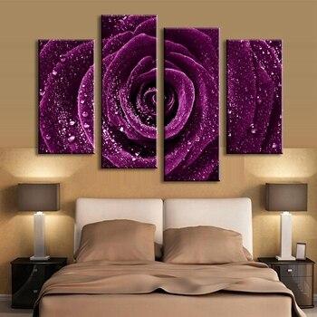HD Stampata Su Tela Poster Cornice Home Decor Living Room Wall Art 4 Pezzi Viola Del Fiore della Rosa Gocce di Pioggia Pittura Immagini Modulari